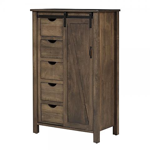 Barn Door Chest of Drawers with door to the right