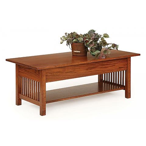 Prairie Mission Coffee Table With Lift Top down