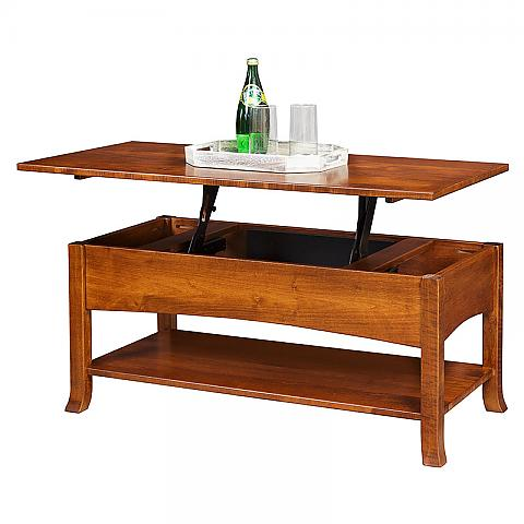 Captiva Coffee Table With Lift Top and tray resting on raised top