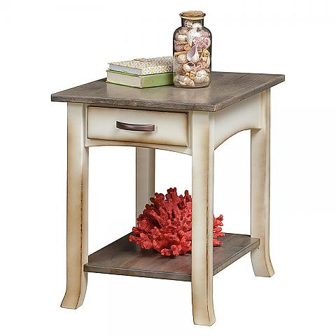 Captiva End Table with books and jar