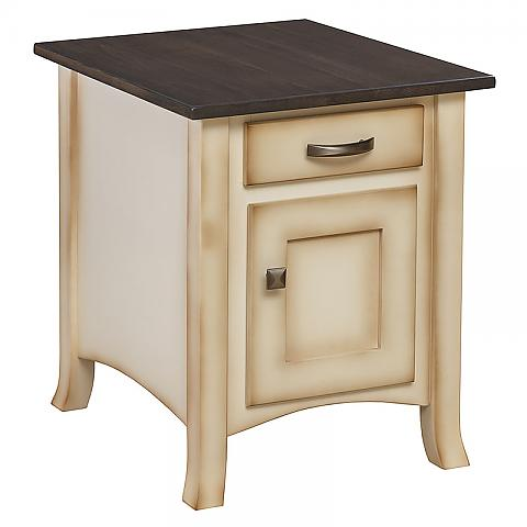 Captiva Enclosed End Table in Antique Slate and burnished Country White Paint