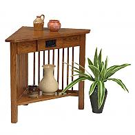 Prairie Mission Corner Table With Drawer